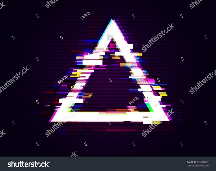 Glitched Triangle Frame Design. Distorted Glitch Style Modern Background. Glow Design for Graphic Design - Banner, Poster, Flyer, Brochure, Card. Vector Illustration.