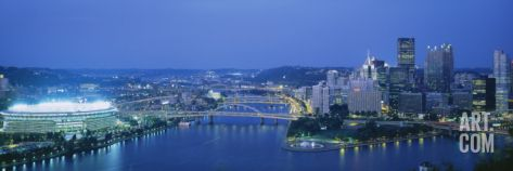 Stadium Lit Up at Night, Three Rivers Stadium, Pittsburgh, Pennsylvania, USA Wall Decal by Panoramic Images at Art.com