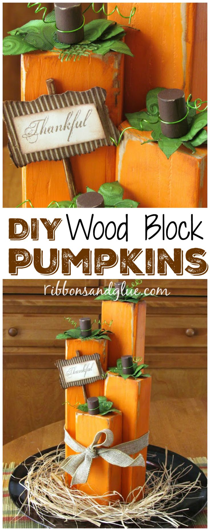 DIY Wood Block Pumpkins. Create this simple Fall centerpiece idea by making Wood Pumpkins out of various sizes of painted wood blocks.