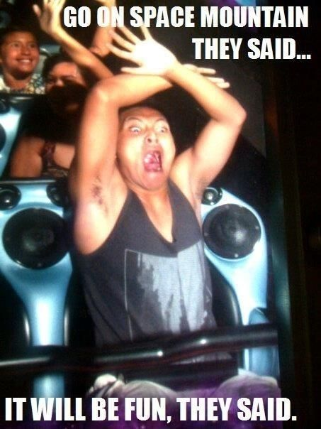 Funny Disneyland Meme : That was my first ride and i totally looked like this lady