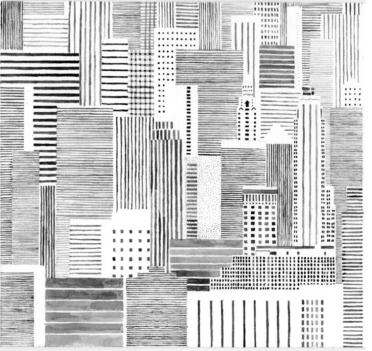 Parallel lines in different shades are used to create a repetitive pattern, blended to create cut structures (City buildings). Rather than colouring the buildings, they are outlined, some stippled and cross hatched; creating a monotonous effect
