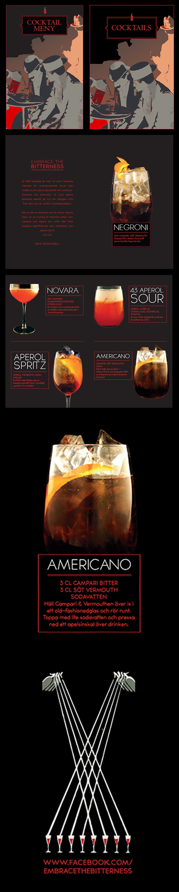 Graphic Design | CLIENT: Campari Sweden | AGENCY: Liquid Mngm | DESCRIPTION: Cocktail menu and cards for events in Sweden promoting the culture of Bitter and Aperitvo made of Campari.