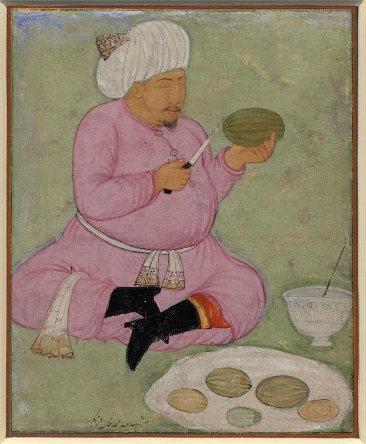 "timur-i-lang:  "" Painting of ʿAbdullah Khan Uzbek II slicing melons while seated, cross-legged. Made in Bukhara, ca. 1590  "" ""In real economic terms, neither Central Asia nor Russia could hope to offer anything remotely balancing the wealth of goods..."