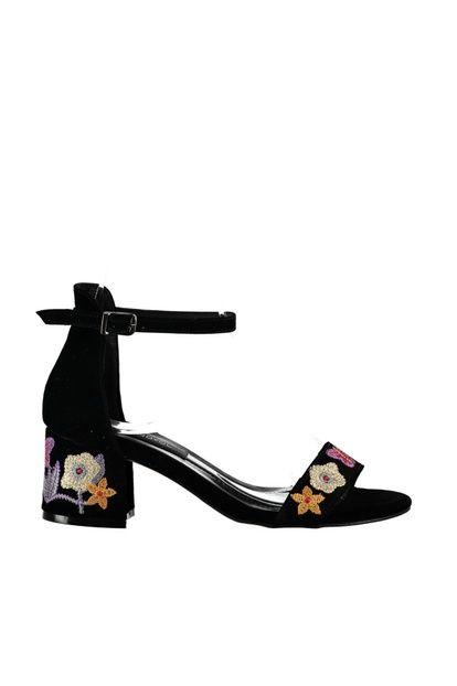 Siyah Süet Nakışlı Kadın Topuklu Ayakkabı