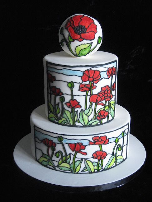 Stained glass poppies - wedding cake
