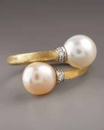 Marco Bicego Pearl & Diamond Bypass Ring ~ Brushed 18k gold ~ White and champagne naturally hued, cultured, freshwater pearl caps.  Pave white diamonds set in 18-karat white gold.