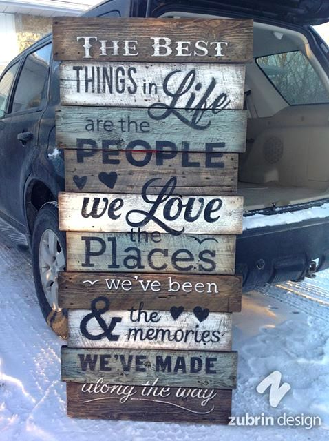 "Hand painted sign...""The Best Things in Life...."" Zubrin Design on Facebook"