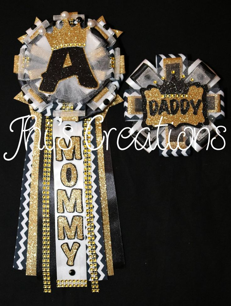 Prince Themed Baby Shower Pin Set (5) In Black, White, And Gold