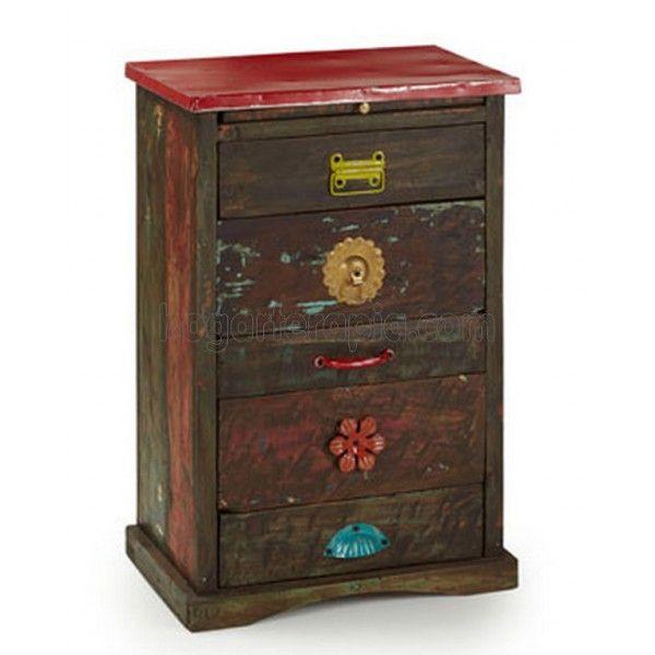 Mesa auxiliar vintage rusky con cinco cajones de madera for Mesas auxiliares vintage baratas