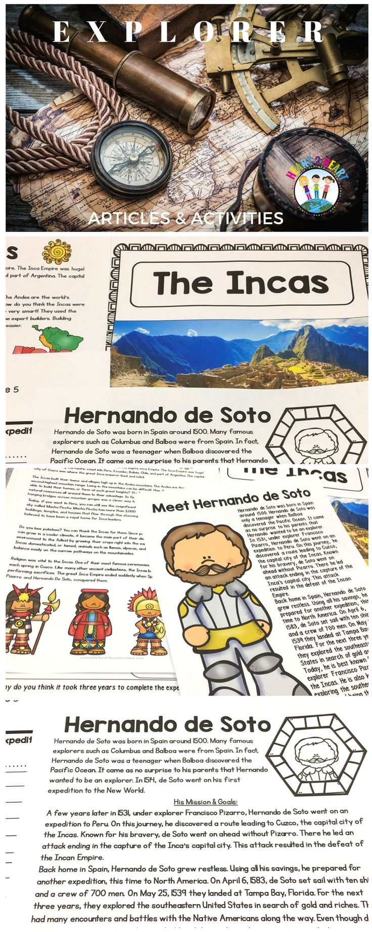 De Soto is best known for helping explorer Francisco Pizarro conquer the Incas. He is also known for exploring the southeastern United States and being the first European to have crossed the Mississippi River.   This pack on Hernando de Soto has it all with informational articles, biography organizer, comprehension questions, vocabulary posters, map activity, and a 5-page flip book!