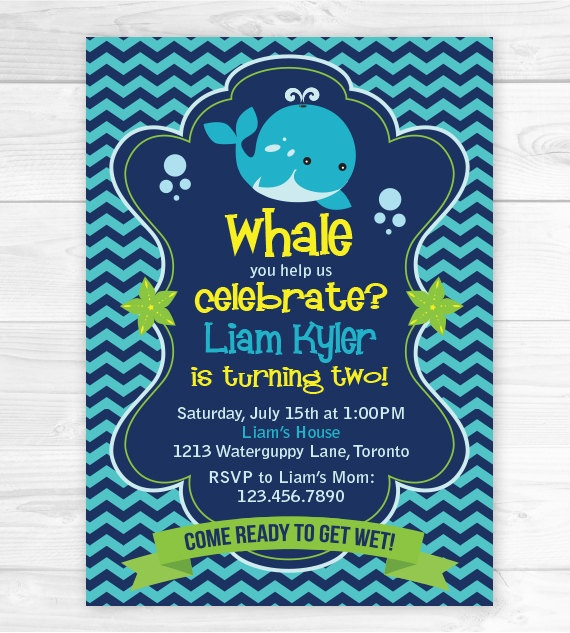 Birthday Party Invitation Whale You Help by BellasBoutiqueDesign, $13.00