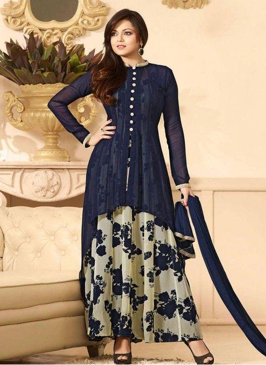 Drashti Dhami Dark Blue & Cream Georgette Salwar Suit