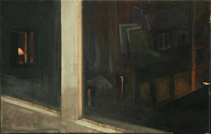 Παράθυρο στην Αθηνάς Παλλάδος , Νο 2 / Window in Athinas Pallados Str., No 2 λάδι σε καμβά / oil on canvas 50.0*32.0*2.0  cm