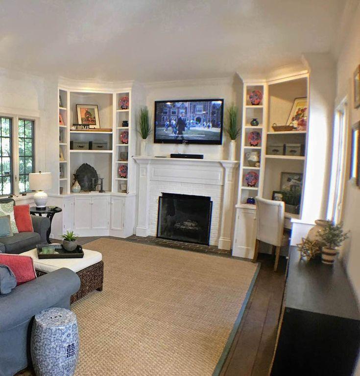 Shelf styling, flatscreen mounted over fireplace