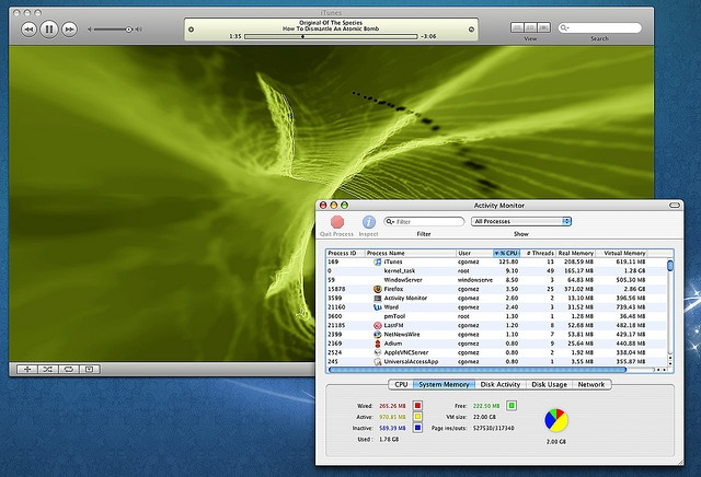 I can understand using the iTunes visualizations might tax the GPU a bit, but how does that lead to 125% CPU utilization and as a result, a CPU temperature of 82°C? An iMac G3 could do this, why does it consume all of a 2.16Ghz processor six years la Free iTunes Gift Card. For more details check out www.realfreegiveawaysonline.3owl.com
