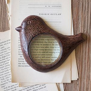 Bird Magnifying Glass - Rustic aluminum. Doubles as paperweight.