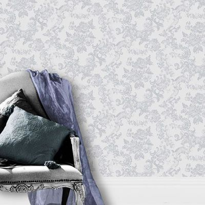 Dove Grey - M0755 - Vintage Lace - Damask - Toile de Jouy Style Crown Wallpaper