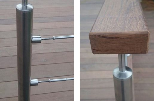 Stainless steel tubular mount balustrade with wire infill