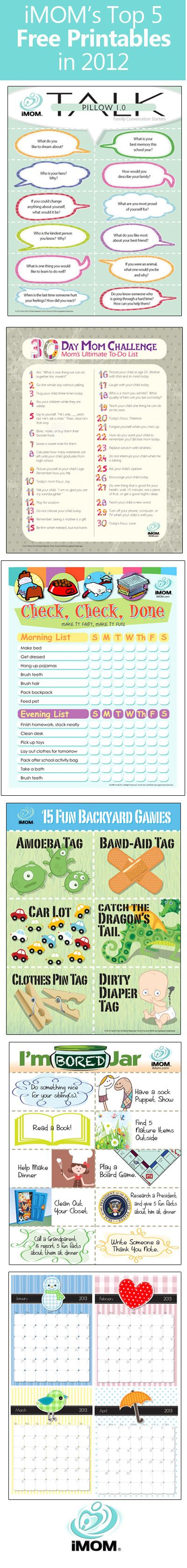 iMOM's Top 5 Free Printables in 2012  iMOM has over 200 printables to help moms! These are Great! imom.com/tools/