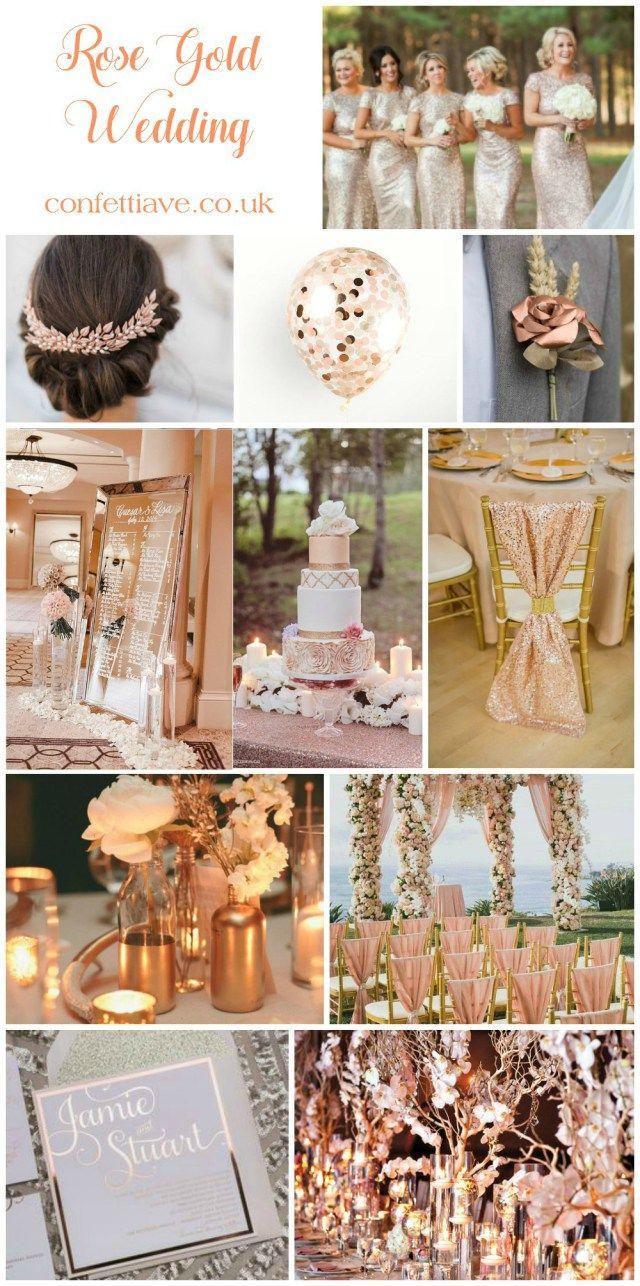 rose gold wedding mood board