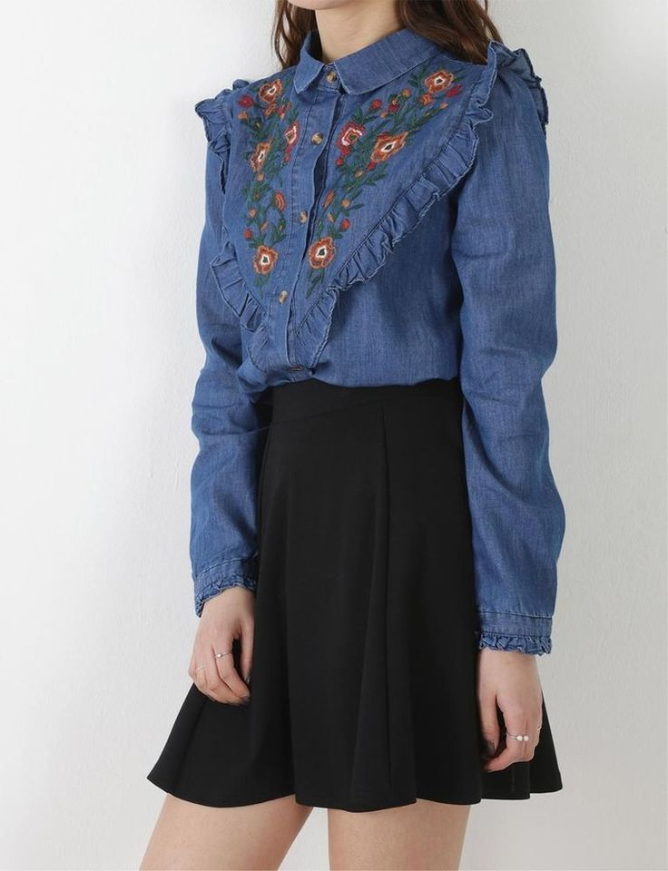 New Women Spring Casua Denim Jean Shirt Japanese/Korean Fashion #Unbranded #ButtonDownShirt #Casual