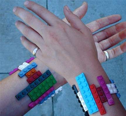 Chic LEGO Jewelry I would glue velcro on peices with velcro band that way child can use for fidget