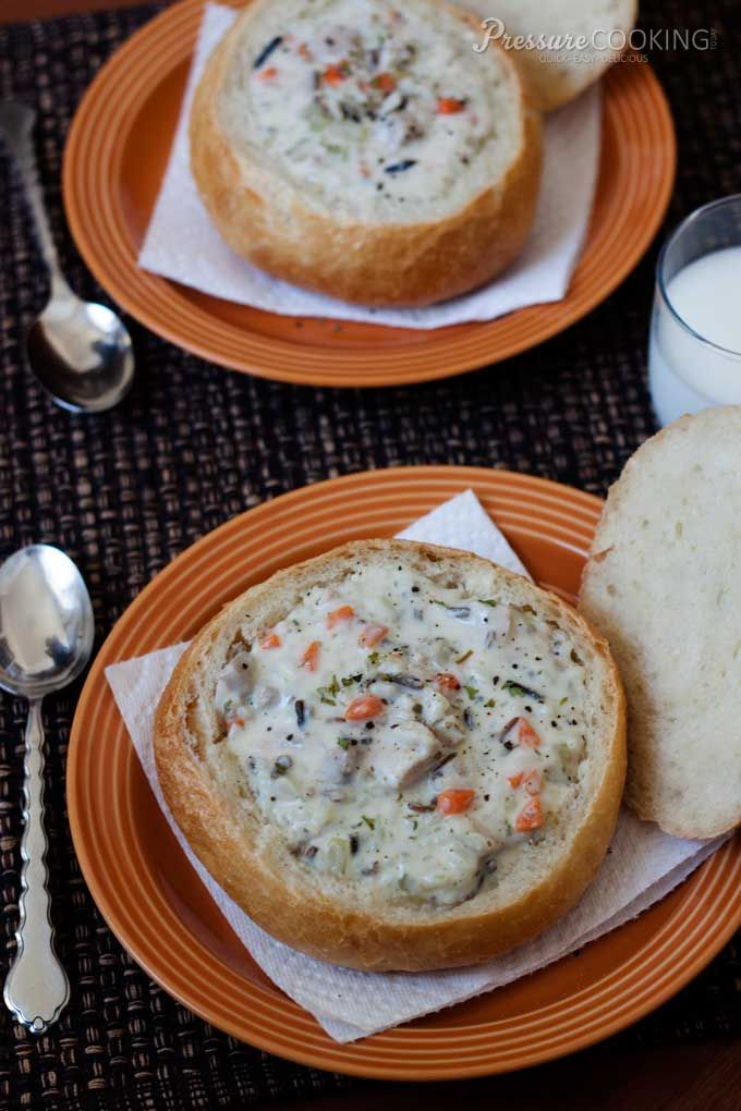 Quicky Creamy Chicken and Wild Rice Soup from Pressure Cooking Today