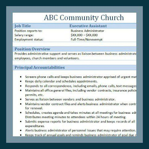 church human resource forms - Church Administrative Assistant Salary