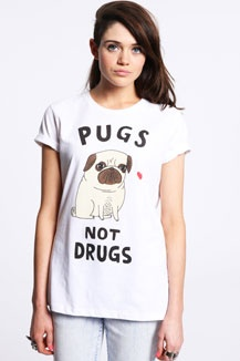Pugs Not Drugs Tee White Online via Style Compare