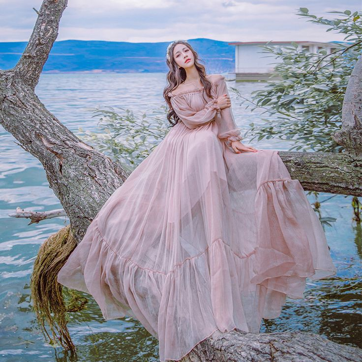 Cheap strapless dress, Buy Quality chiffon dress directly from China dress women Suppliers:       2016 Autumn Slash Collar Long Sleeved Strapless Dress Vintage Tiny Waist Vacation Fairy Dress Wo