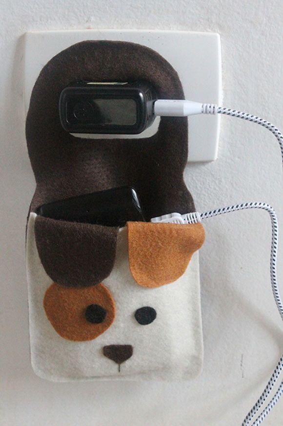Porta carregador de celular - cachorro | Ateliê dos Bichos | Elo7