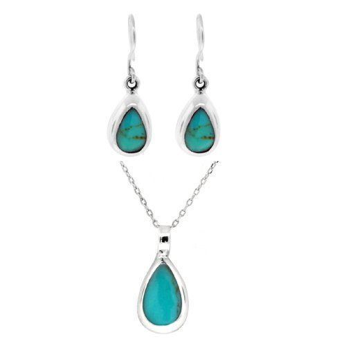 """Sterling Silver Turquoise Inlay Teardrop-Shaped Earrings with Matching Pendant Necklace Set, 16"""" Amazon Curated Collection,http://www.amazon.com/dp/B002BSHB8I/ref=cm_sw_r_pi_dp_SHUDsb1C7GBNBVPS"""