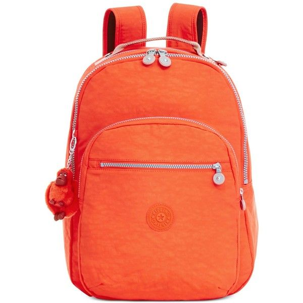 Kipling Seoul Backpack (150 BRL) found on Polyvore featuring women's fashion, bags, backpacks, imperial orange, laptop backpacks, laptop pocket backpack, red laptop bag, orange laptop bag and red bag