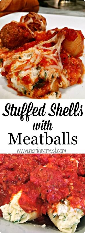 Pasta Shells stuffed with Ricotta, Mozzarella Cheese, Spinach and topped with Slow Cooker Parmesan Meatballs and a rich robust red sauce. These are out of this world! A must make recipe!