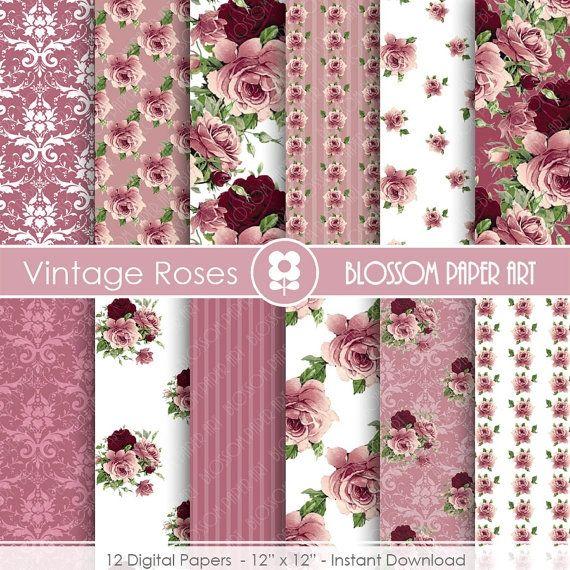 Rose Digital Paper, Plum Digital Paper Pack, Wedding, Scrapbooking, Roses, Wine Colour - INSTANT DOWNLOAD - 1702 by blossompaperart