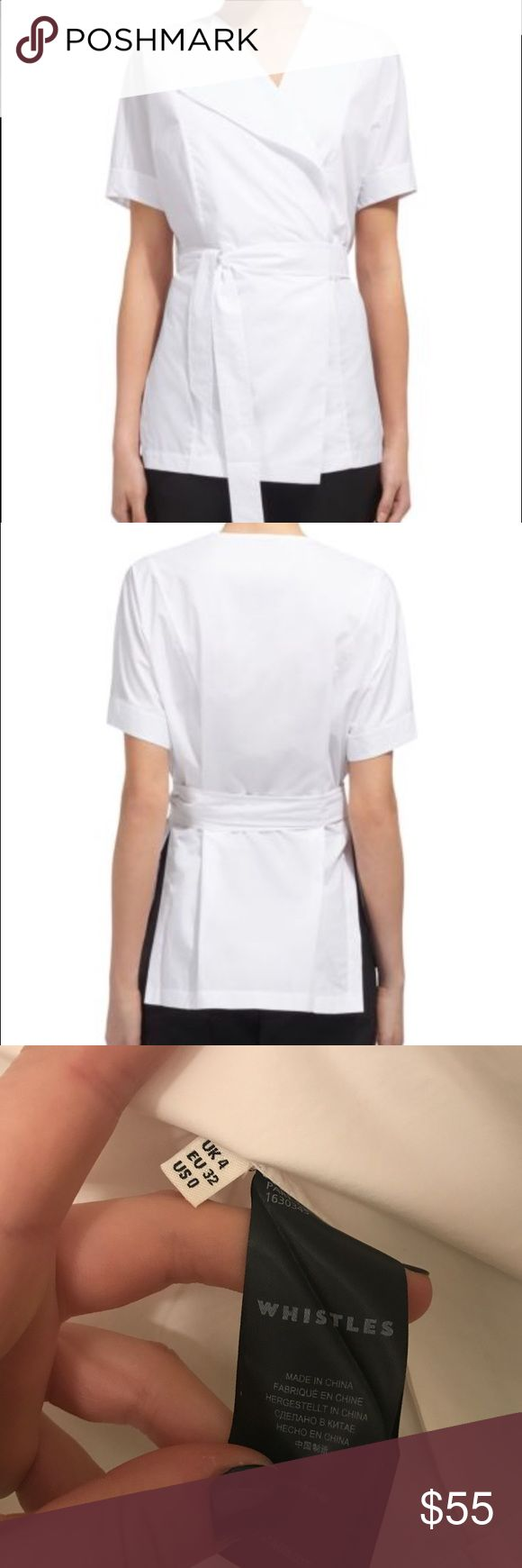 Whistles Kelso Poplin Wrap Shirt (Bloomingdale's) Cotton Machine wash or dry clean V-neck, short sleeves, wrap front Detachable self-tie belt, side slits Whistles Tops Blouses
