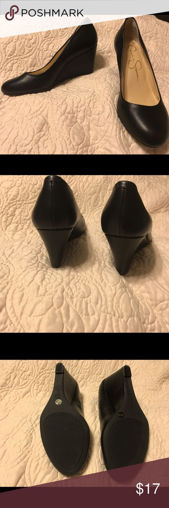 """Jessica Simpson Sampson Wedges, Black, Size 8 Jessica Simpson Sampson Wedges. Black. Size 8. Heel Height: 3"""". Worn once, but bottoms are almost like new (see pictures). Jessica Simpson Shoes Wedges"""