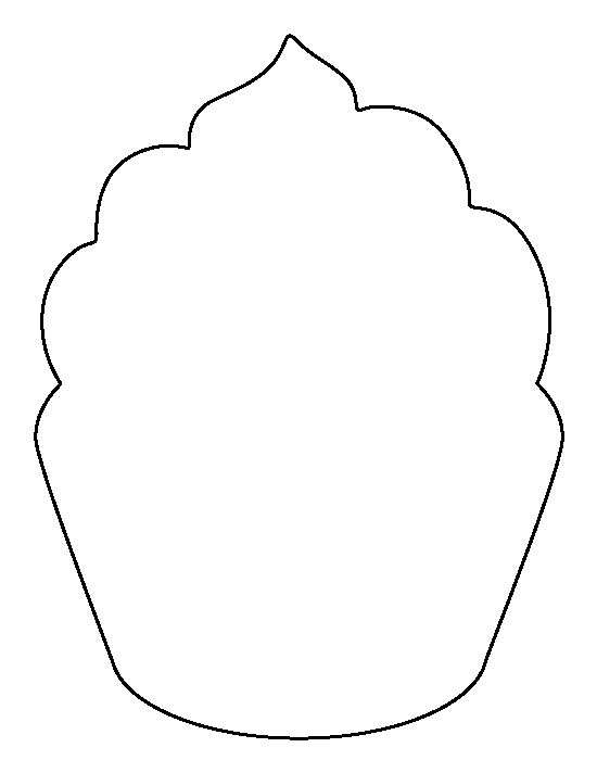 Cupcake pattern. Use the printable outline for crafts, creating stencils, scrapbooking, and more. Free PDF template to download and print at http://patternuniverse.com/download/cupcake-pattern/