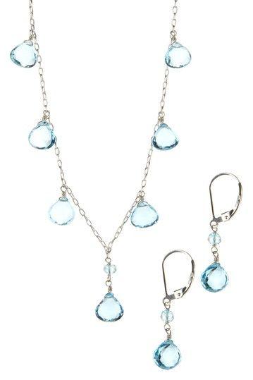 Sterling Silver Teardrop Blue Topaz Necklace & Earrings Set #mybetsonBetts