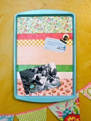 Turn a dollar store cookie sheet +scrap paper + Mod Podge = decorative memo board