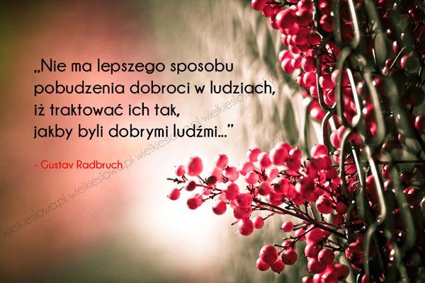 Nie ma lepszego sposobu pobudzenia dobroci... #Radbruch-Gustav, #Człowiek, #Dobro-i-sprawiedliwość, #Relacje-międzyludzkie