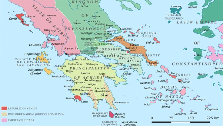 Greece in 1210 AD, shortly after the fourth crusade by Cplakidas #map #greece #medieval