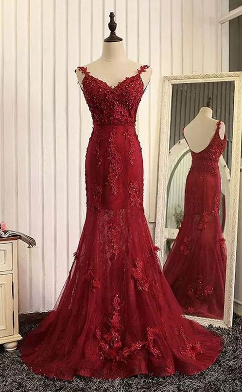 Red organza lace applique v-neck open back long prom dresses, mermaid dresses Fishtail dress