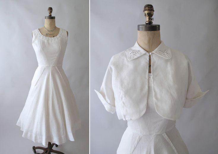 1950s White Linen Wedding Dress