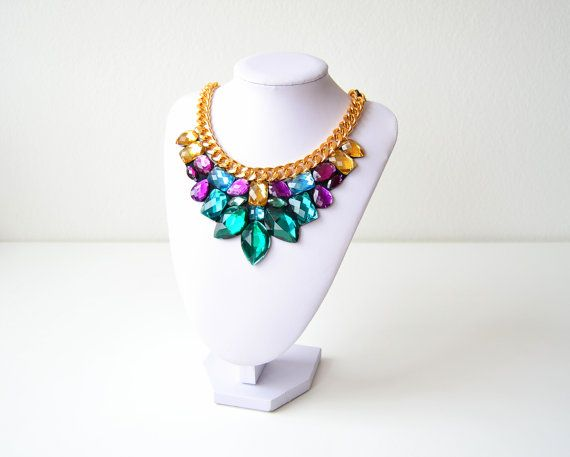 Gold Green Purple Turquoise Rhinestone Gem Crystal by GemsOver
