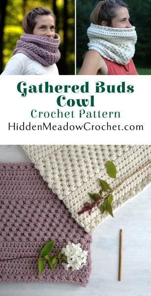 Crochet Pattern - Gathered Buds Cowl at HiddenMeadowCrochet.com