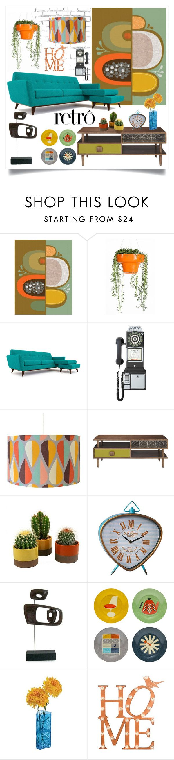"""Retro Home"" by caymansunshine ❤ liked on Polyvore featuring interior, interiors, interior design, home, home decor, interior decorating, Dot & Bo, Wallter, Joybird Furniture and Orla Kiely"