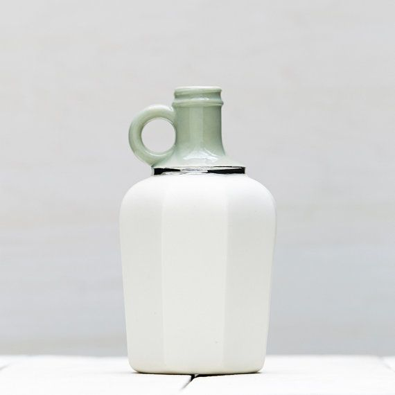 Mint Green and White Matte Porcelain Vessel by redravenstudios