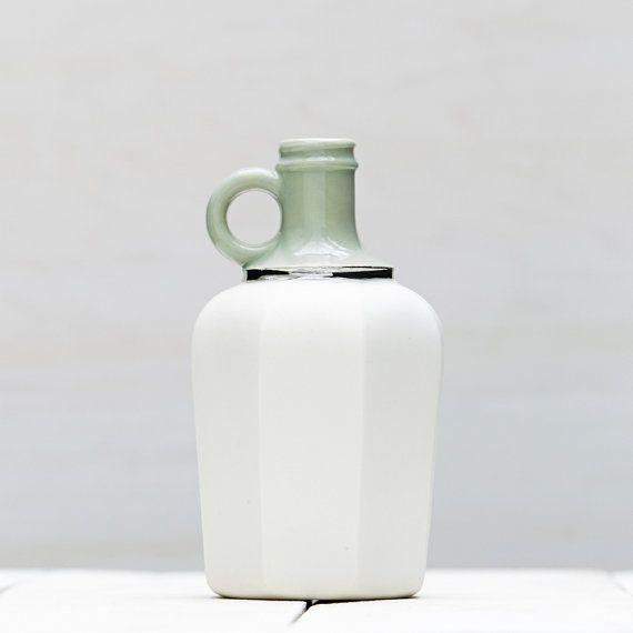 Mint Green and White Matte Porcelain Vessel by redravenstudios