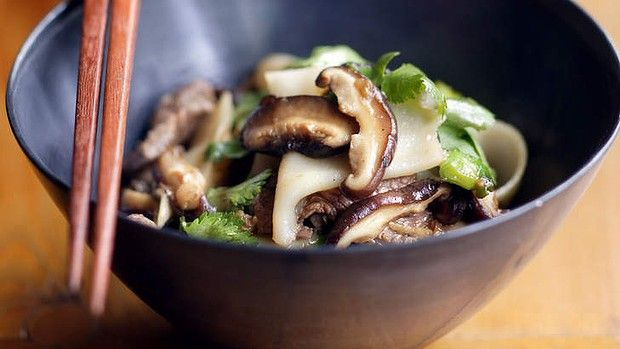 Beef stir fry with shiitake mushrooms.